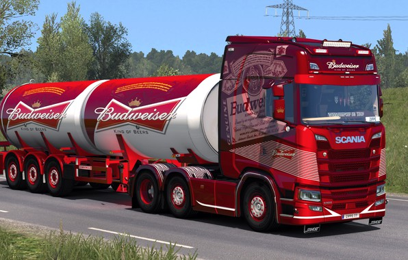 Picture road, truck, Scania, ETS2, Budweiser, Euro Truck Simulator 2