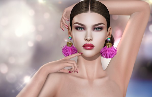 Picture girl, earrings, hands