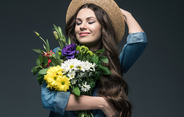 Picture joy, flowers, pose, smile, background, mood, portrait, bouquet, hat, makeup, hairstyle, shirt, brown hair, beauty, …
