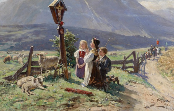 Picture 1902, German painter, German painter, oil on canvas, Carl Becker, Prayer at the wayside Shrine, …