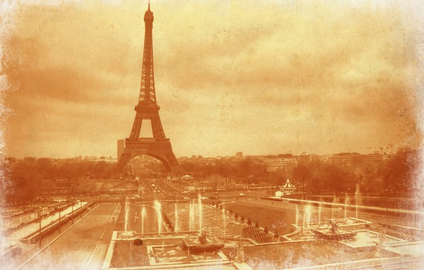 Picture retro, France, Paris, Eiffel tower