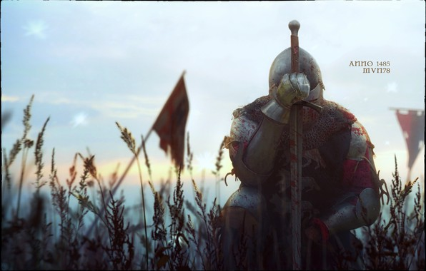 Picture grass, flag, warrior, The year 1485, the battle of Bosworth