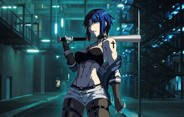 Picture game, anime, blue eyes, ciel, blue hair, melty blood, tsukihime, night street, neon light, elesia