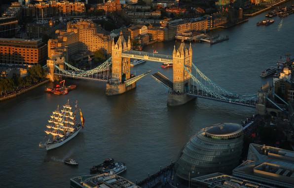 Picture sunset, bridge, the city, river, England, London, building, ships, boats, Thames, Tower bridge