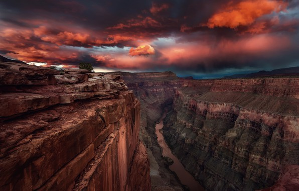 Picture clouds, clouds, river, rocks, canyon, USA