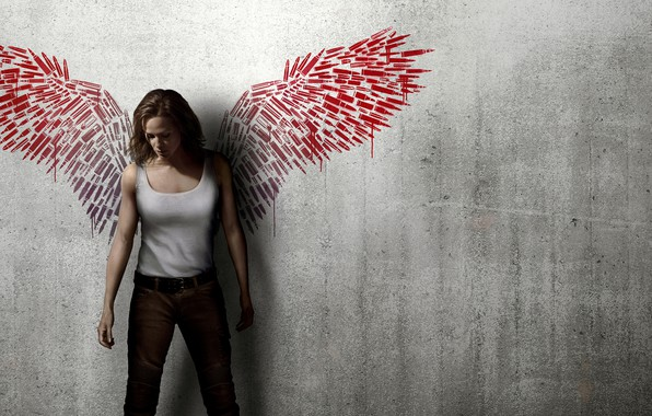 Picture girl, background, wall, figure, wings, jeans, Mike, red, cartridges, Thriller, action, poster, Jennifer Garner, Jennifer …