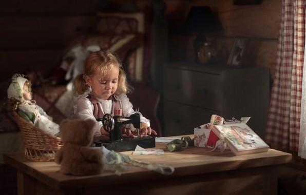 Picture doll, bear, girl, sewing machine, Vadim Morozov, dressmaker