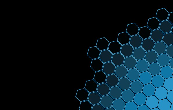 Picture black, minimalism, texture, blue, black background, geometry, simple background, geometric shapes, Hexagons