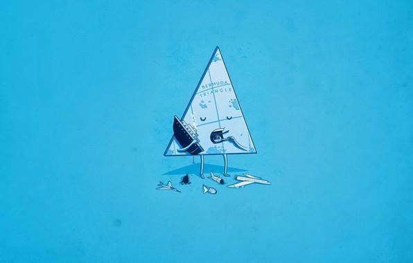 Picture Minimalism, Aircarft, Ship, Humor, Bermuda triangle