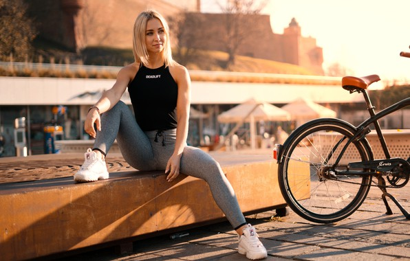 Picture the sun, bike, the city, model, portrait, makeup, Mike, hairstyle, blonde, sitting, sneakers, posing, bokeh, …