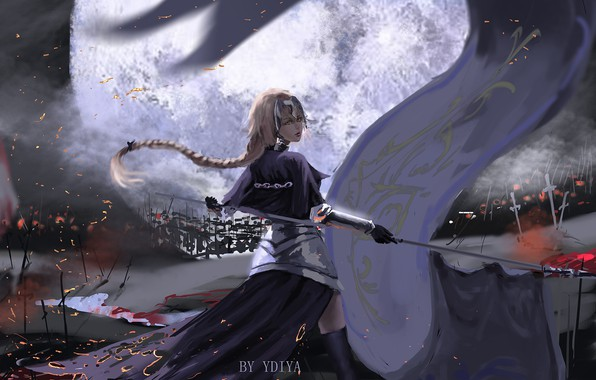 Picture girl, fantasy, anime, braid, blonde, digital art, artwork, warrior, fantasy art, armored, banner, anime girl, …