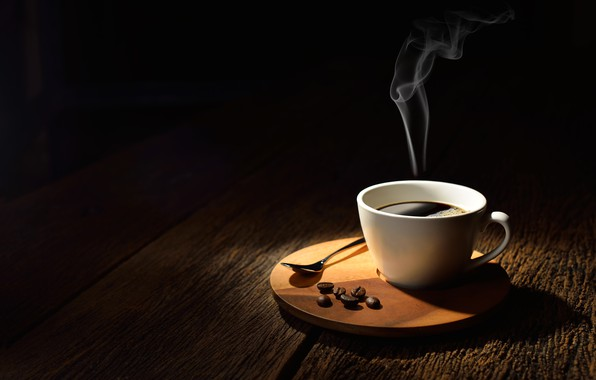 Picture table, Board, coffee, hot, couples, spoon, Cup, drink, black background, grain