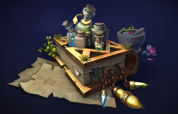 Picture art, book, grass, potion, smirnovschool, fantezi, Book from CGBasics, Anastasya Kochergina