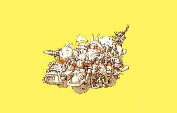 Picture Art, Guns, Bike, Weapon, Minimalism, Characters, Motorcycle, Bunny, Rabbits, Ren Wei Pan, Bunnys, Weapon Blood …