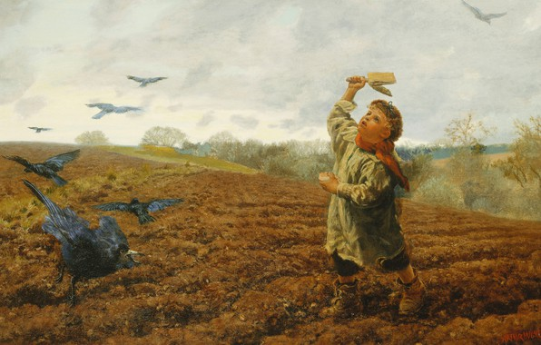 Picture boy, 1884, Arthur Hughes, The storm Raven