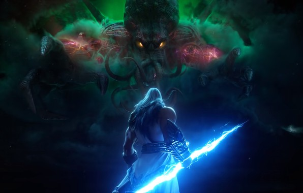 Picture lightning, Cthulhu, the gods, lightning, Zeus, zeus, smite, gods, ktulhu