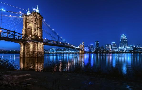 Picture skyline, Cincinnati, after sunset