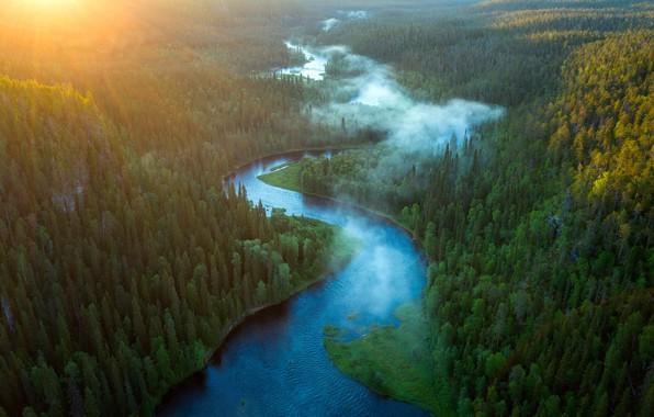 Picture summer, sunrise, River Kitkajoki