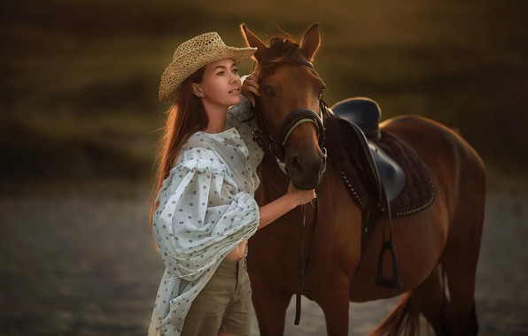Picture look, girl, pose, horse, hat, blouse, Anastasia Barmina