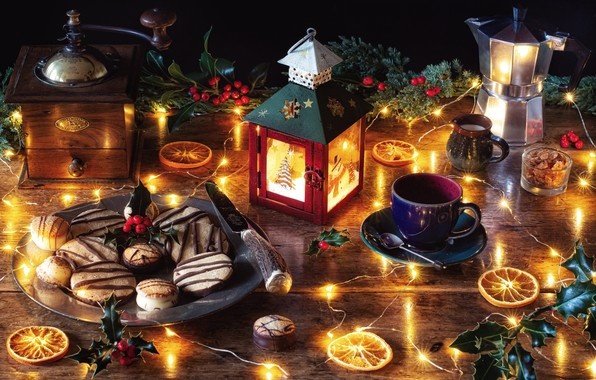 Picture leaves, table, holiday, Christmas, oranges, cookies, plate, knife, Cup, lantern, garland, light bulb, Holly, coffee …