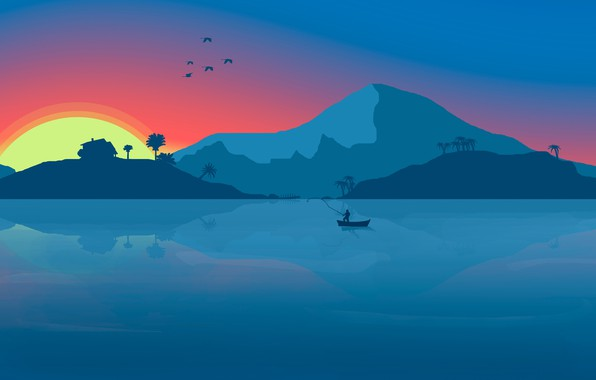 Picture Sunset, Minimalism, Mountains, Lake, River, Boat, House, Birds, Dawn, House, Background, Fishing, Fisherman