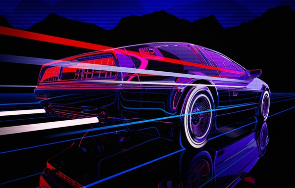 Picture Auto, Music, Machine, DeLorean DMC-12, 80s, DeLorean, DMC-12, Neon, 80's, Synth, Retrowave, Synthwave, New Retro …