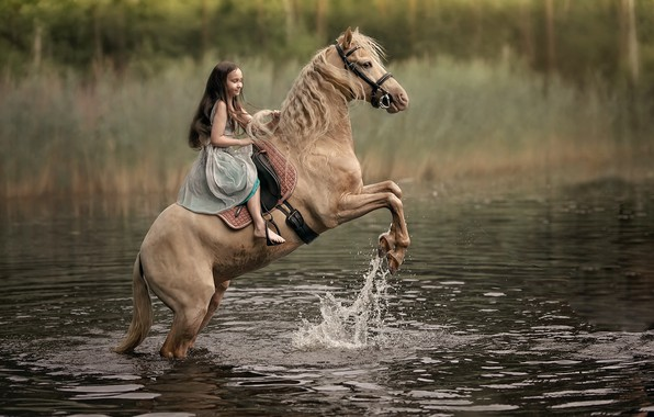 Picture river, horse, girl