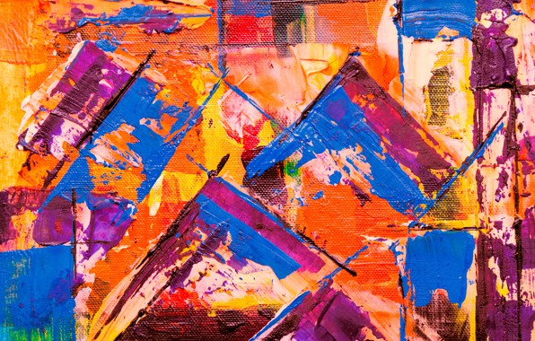 Picture line, paint, canvas, colorful, strokes