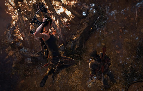 Picture Girl, Fire, Jump, Bow, Weapons, Square Enix, Lara Croft, Video Game, Rise of the Tomb …