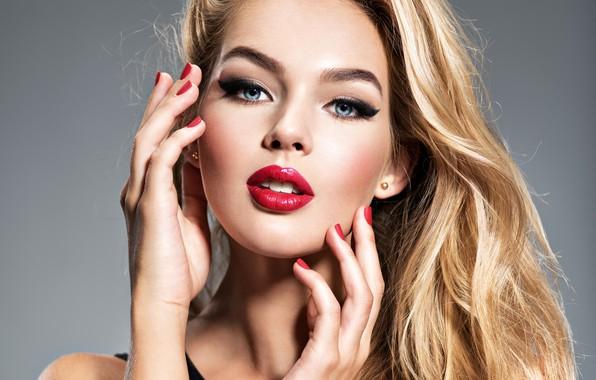 Picture girl, model, portrait, hands, makeup, blonde, gesture, manicure