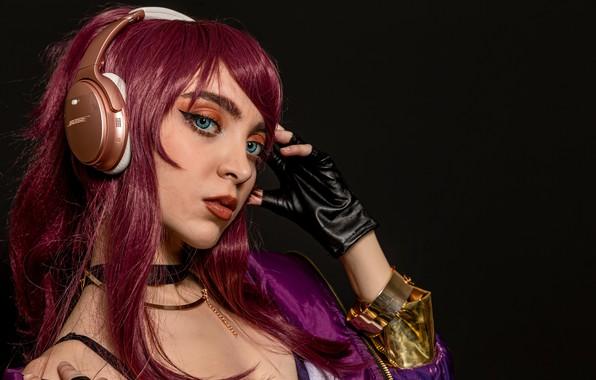 Picture girl, gamer, headphones, hair, cosplay, headset, cosplay costume, bose