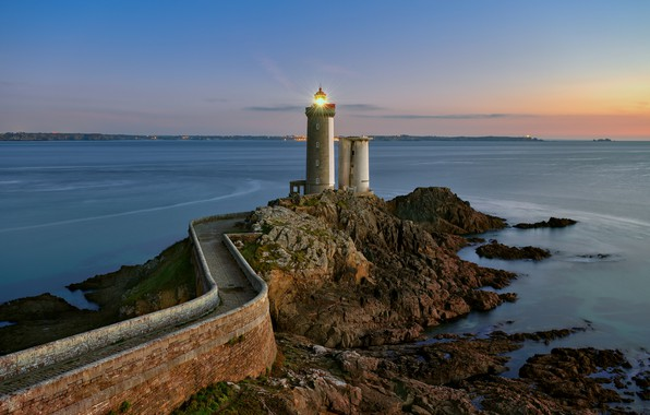 Picture road, sea, light, landscape, stones, rocks, France, lighthouse, the evening, Brittany, Plusone