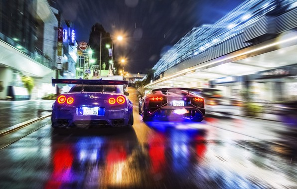 Picture road, night, street, race, speed