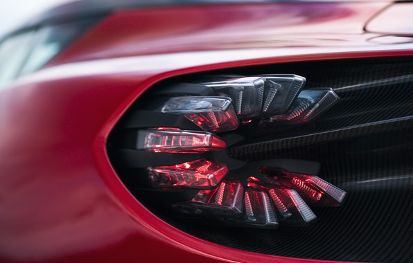 Picture red, Aston Martin, coupe, headlight, form, Zagato, 2020, V12 Twin-Turbo, DBS GT Zagato, 760 HP