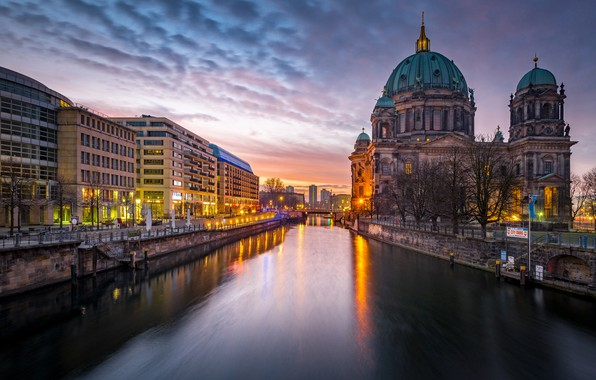 Picture the city, lights, river, the evening, Germany, architecture, promenade, Berlin