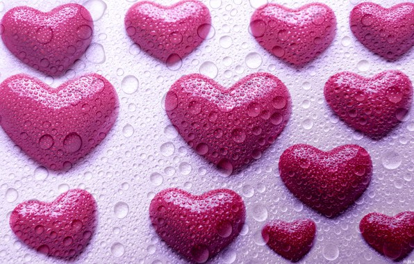 Picture glass, drops, photoshop, hearts