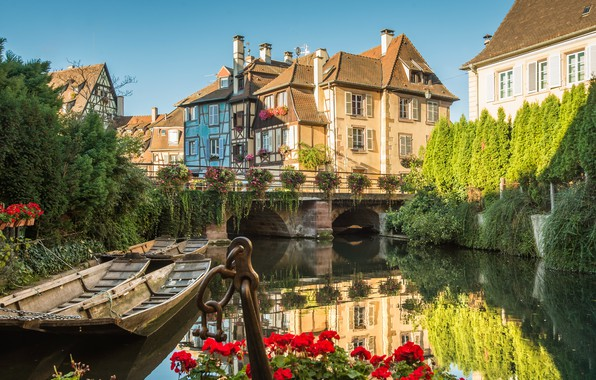 Picture flowers, the city, France, home, boats, channel, the bridge, Colmar