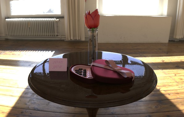 Picture flower, holiday, gift, chocolate, morning, vase, table, Valentine's Day, Valentine's Day, Kim Wilhelmsson