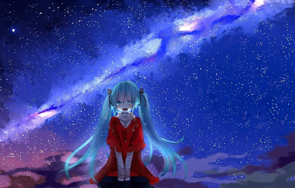 Picture sadness, abyss, anime girl