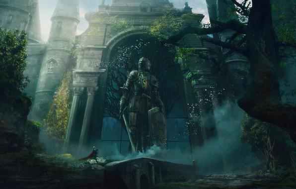 Picture sword, fantasy, armor, trees, weapon, castle, gates, digital art, artwork, shield, warrior, fantasy art, Knight, …