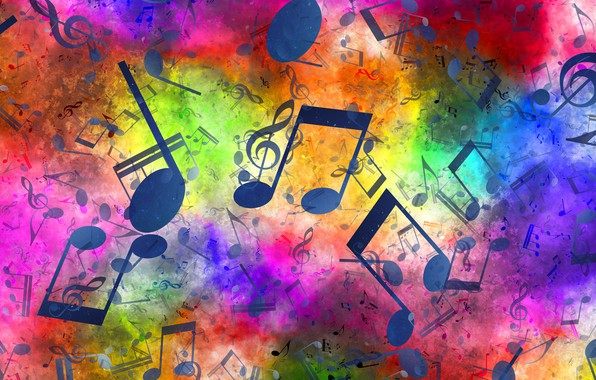 Picture notes, music, treble clef