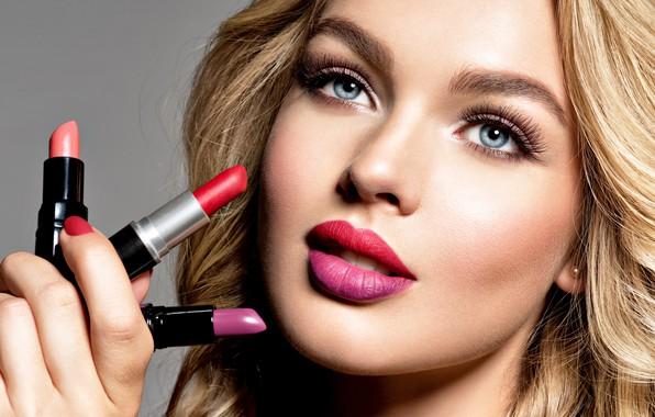 Picture look, face, portrait, makeup, lipstick, hairstyle, blonde, curls, curls, model, makeup, lipstick