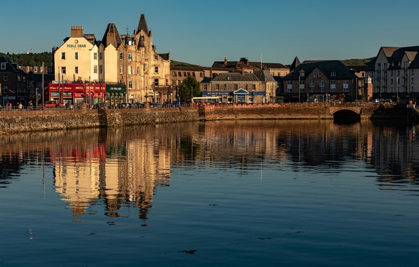 Picture the sky, water, the sun, reflection, river, home, Scotland, Oban