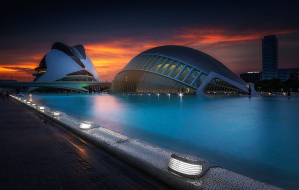 Picture lights, the evening, Spain, Valencia