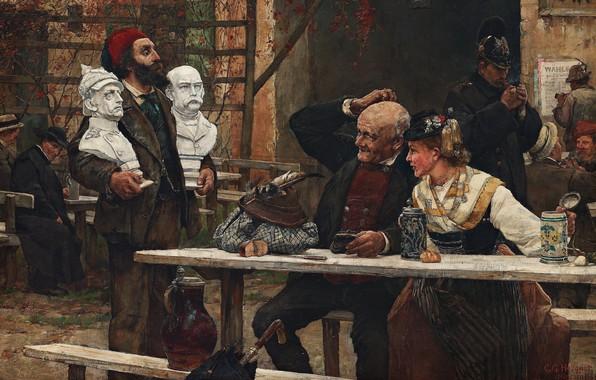 Picture 1882, Carl Gustaf Hellqvist, Swedish artist, Swedish painter, oil on canvas, Bismarck or Moltke, Carl …