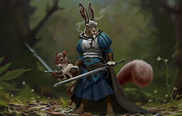 Picture forest, animals, hare, protein, Weapons, armor