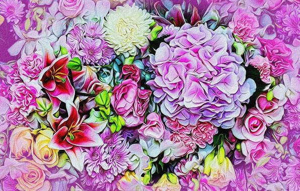 Picture flowers, rendering, figure, bouquet, petals, buds, picture, canvas, vignette, flower cuts