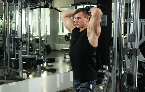 Picture look, pose, fitness, muscle, muscle, athlete, simulators, biceps, gym, fitness, gym, bodybuilder, training, Gym, bodybuilder