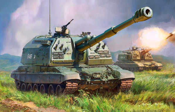 Picture sau, 2S19, Msta-S, artillery, Russian 152-mm divisional self-propelled howitzer