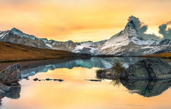 Picture autumn, the sky, clouds, snow, mountains, lake, reflection, stones, rocks, shore, yellow, pond, water surface, ...